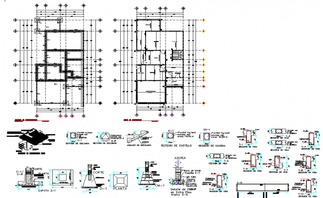 Detail of beam plan and section autocad file