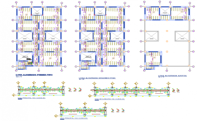 Detail of beam plan and section plan autocad file