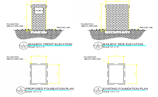 Detail of brick mail box construction details dwg file
