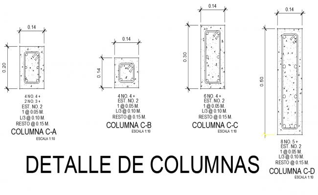Detail of column plan layout file