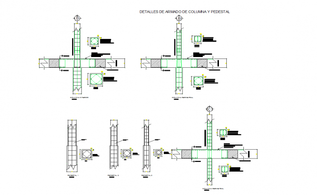 Detail of column sand pedestals in dwg cad files