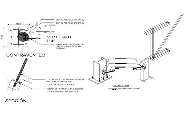 Detail of contravene in steel structure dwg file