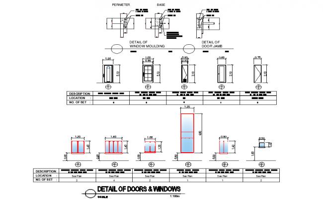 Detail of door and window dwg file