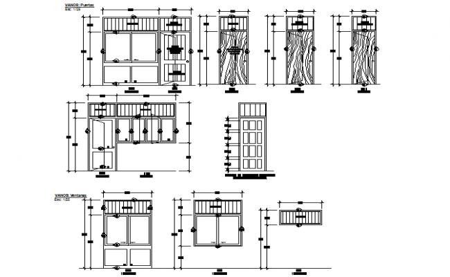 Detail of door elevation autocad file