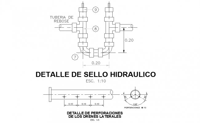 Detail of drilling holes in the drains layout file