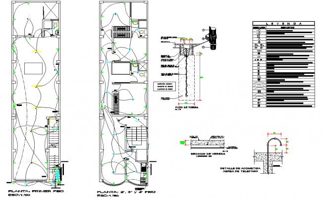Detail of electrical home plan detail dwg file