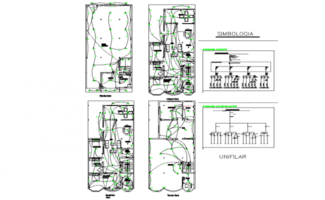 Detail of electrical residential of 4 floors plans detail autocad file