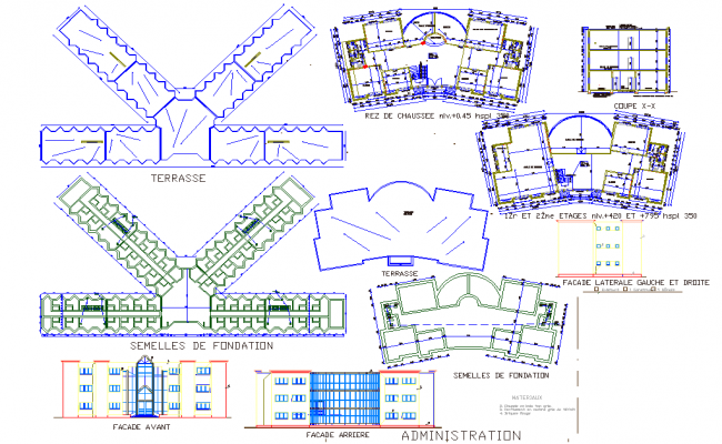 Detail of elevation University plan detail dwg file