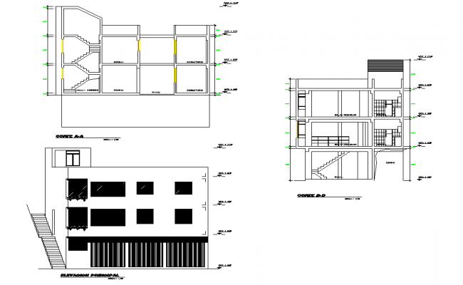 Detail of elevation and section home plan autocad file