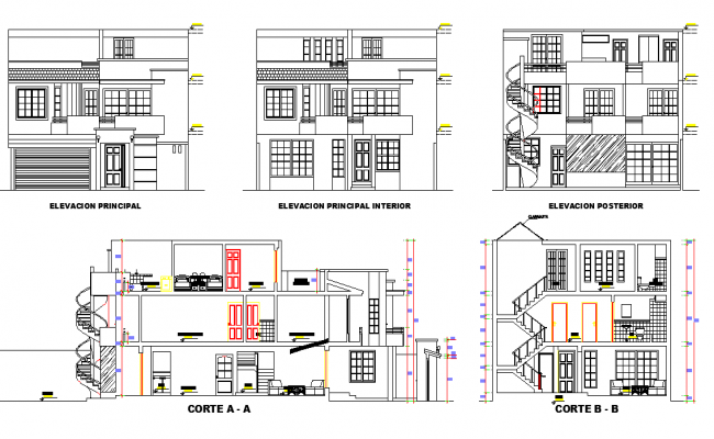 Detail of elevation and section home plan layout file