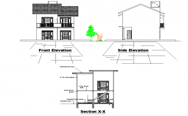 Detail of elevation and section house autocad file