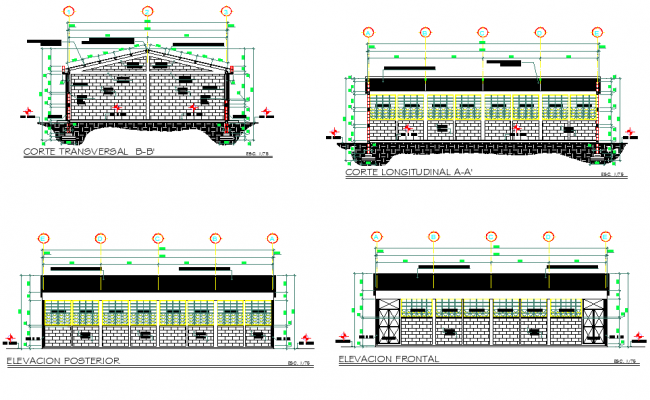 Detail of elevation and section salon dwg file