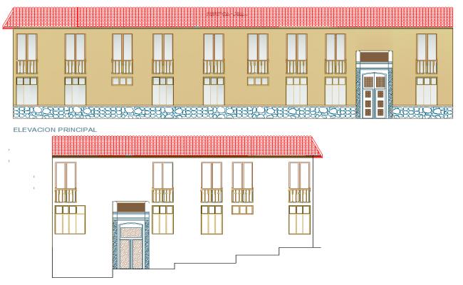 Detail of elevation artisanal center autocad file