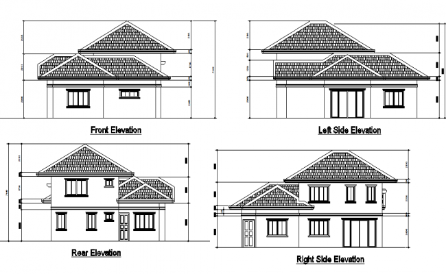Detail of elevation house dwg file