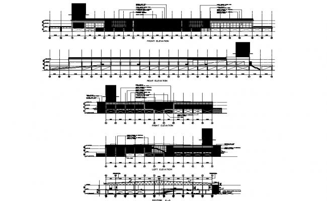 Detail of elevation hyper market layout dwg file