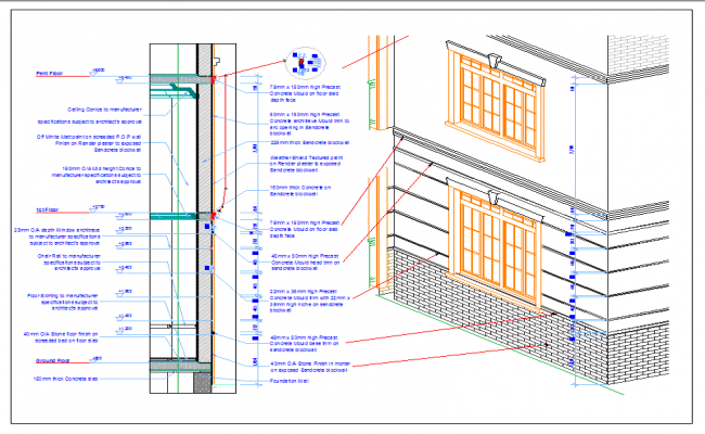 Detail of external wall of building dwg file