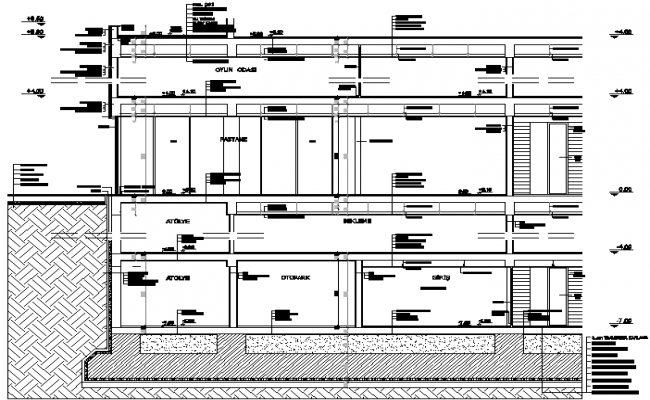 Detail of facade of the section dwg file