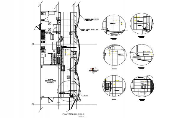 Detail of false ceiling plan dwg file