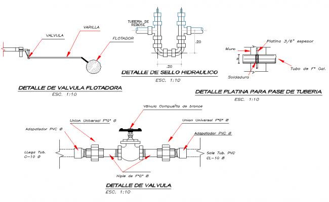 Detail of foot valve dwg file