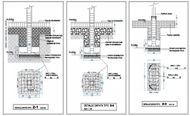 Detail of foundation plan and section autocad file