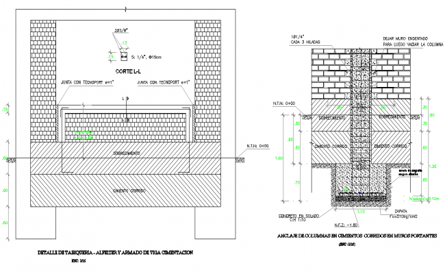 Detail of foundation section plan autocad file