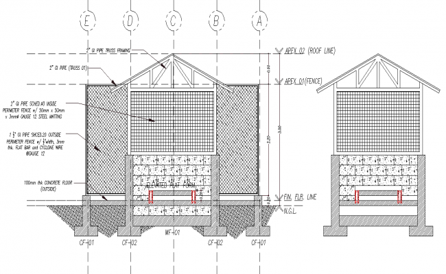 Detail of house section autocad file