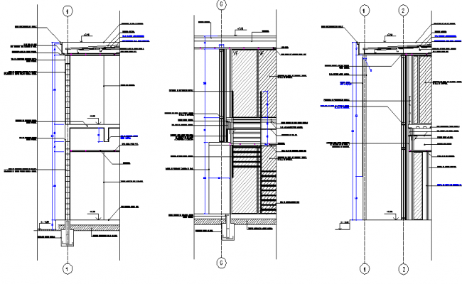 Detail of industrial building section dwg file