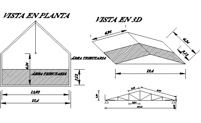 Detail of metal roof construction dwg file