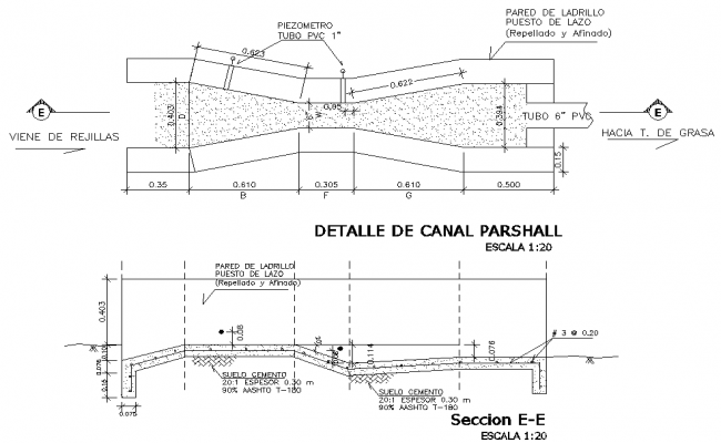 Detail of parshall channel plan and section dwg file