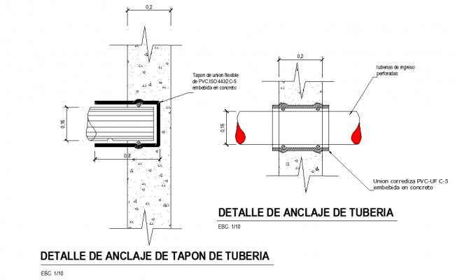 Detail of pipe plug clamp section autocad file