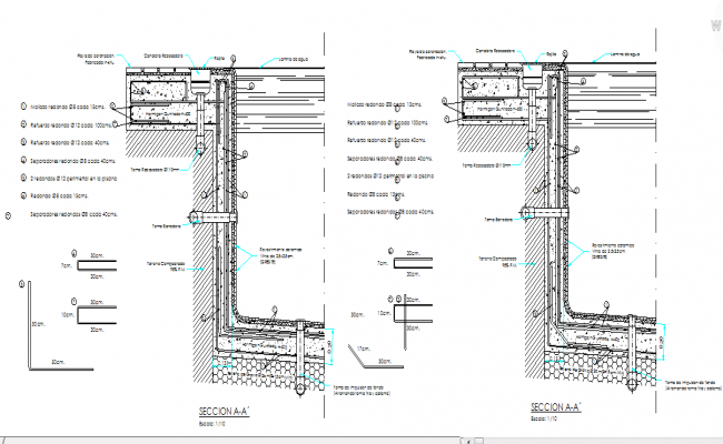 Detail of pools overflow for Swimming pool overflow detail dwg