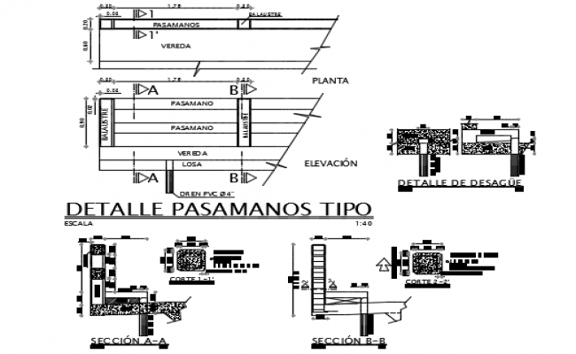Detail of railings type dwg file