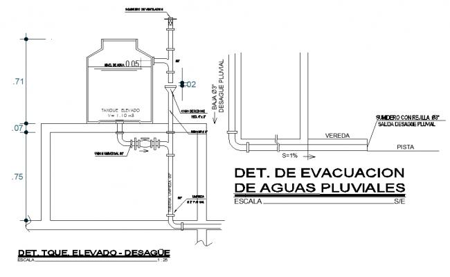 Detail of rainwater evacuation dwg file