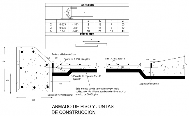 Detail of reinforcement floor and construction board autocad file