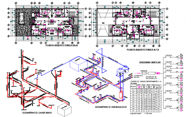 Detail of sanitary and hydraulic Installation plan autocad file