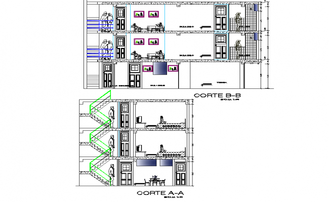 Detail of section family house plan dwg file