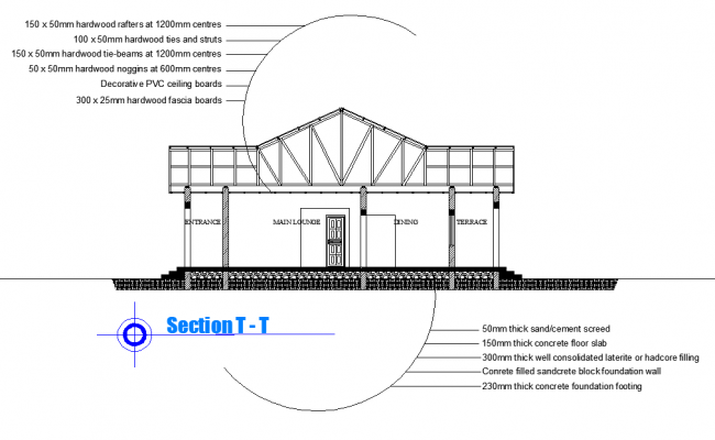 Detail of section house dwg file