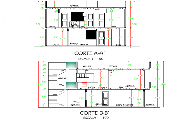 Detail of section housing and local plan autocad file