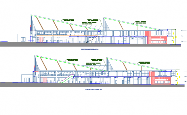Detail of section new modern markets dwg file