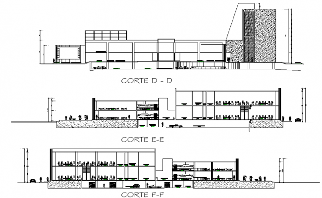 Detail of section shopping mall dwg file