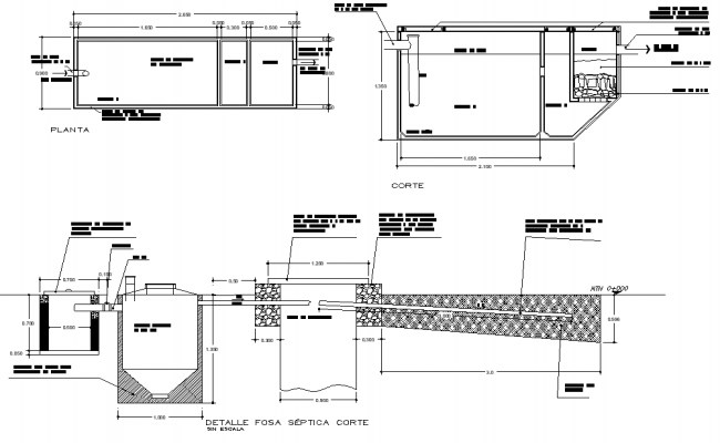 Detail of septic tank autocad file