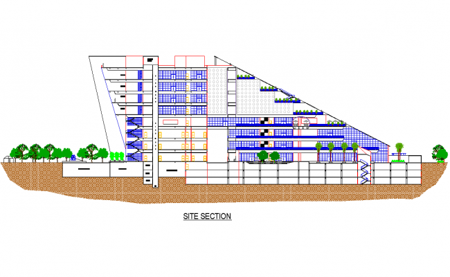 Detail of site section plan dwg file