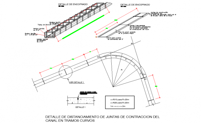 Detail of spacing of contraction joints of the channel in curved sections dwg file