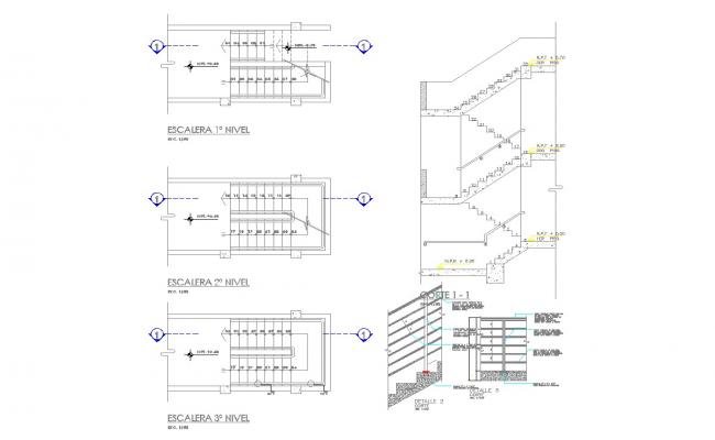 Detail of stair and railing design and detail in autocad dwg files