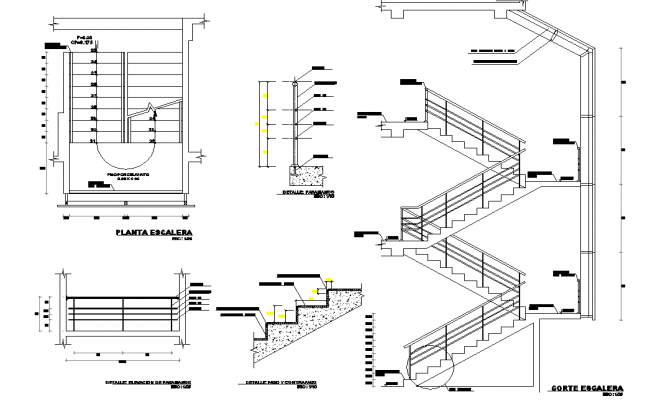 Detail of stair detail dwg file