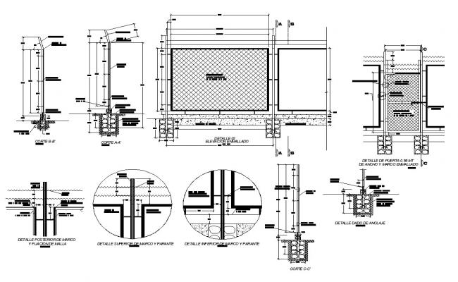 Detail of steel railing structural CAD block layout file in autocad