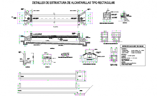 Detail of structure of alcanatarilla type rectangular layout file
