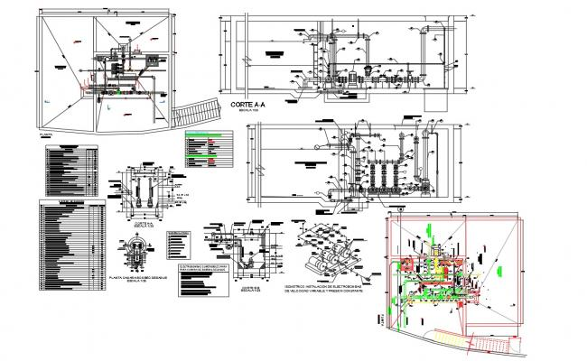 Detail of tank and Pump room dwg file