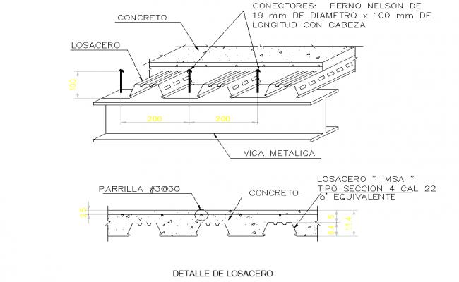 Detail of the steel plan dwg file