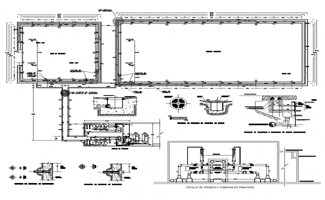 Detail of tube and pipes in trench detailing 2d view layout file